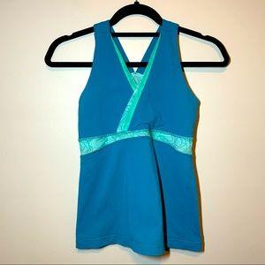 Lululemon size 8 teal V neck mesh back tank top